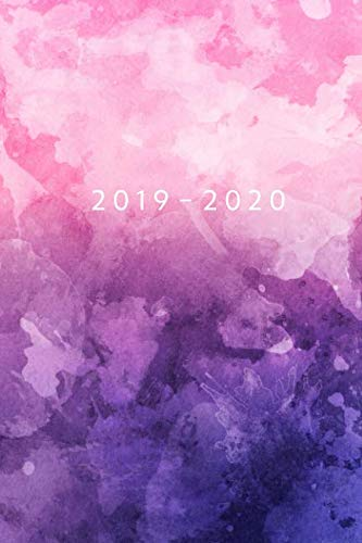 Planner Starting May 2019 - Dec 2020 | 6 x 9 Dated Agenda | Appointment Calendar | Organizer Book | Soft-Cover Watercolor Purple Pink ()
