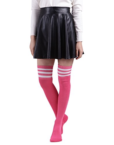HDE Women Three Stripe Over Knee High Socks Extra Long Athletic Sport Tube Socks (Neon Pink White Stripes)]()