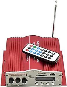 مضخم الصوت هاي فاي ستيريو بالطاقة الناتجة ثنائية القناة/ يو اس بي/ راديو اف ام/ ايه يو اكس/ بطاقة اس دي