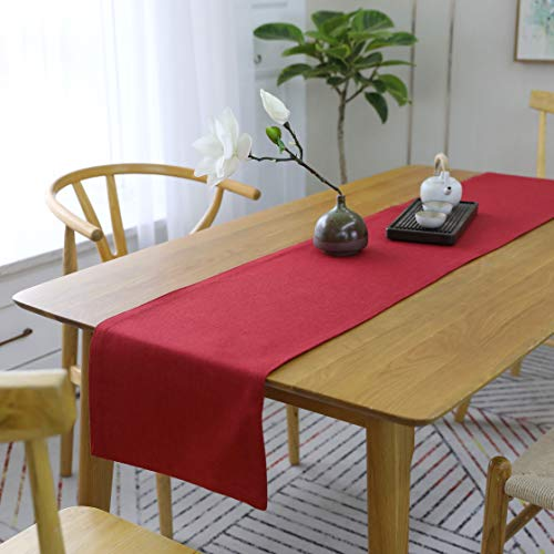 HOME BRILLIANT Dining Table Runner 12x72 inches Christmas Living Room Dinner Wedding Birthday Party Burlap Rustic Table Runner