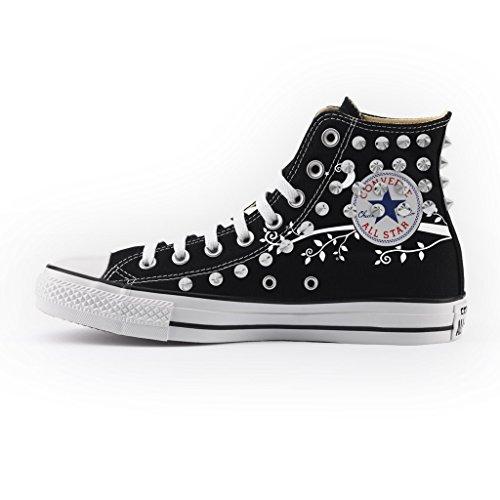Converse All artigianali NERA con Personalizzate Alta BORCHIE E scarpe CIVETTA stampa GUFO Star SILVER aBarzqwI