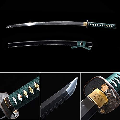 xinan2018 Samurai Katana Japanese Full Tang Carbon Steel Sword 1060 T10 Battle ReadyCold Real Handmade Damascus Heat Tempered Sharp Knife