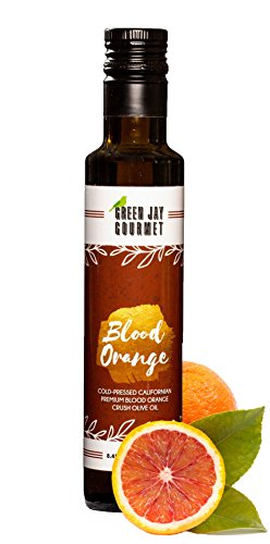 Green Jay Gourmet Blood Orange Olive Oil from Organically Grown Olives - Blood Orange Crushed Extra Virgin Olive Oil - Trans-Fat Free Cold Pressed Olive Oil - Gourmet Olive Oil ()