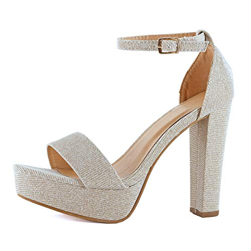 - Womens Platform Ankle Strap High Heel - Open Toe Sandal Pump - Formal Party Chunky Dress Heel Sandals (5 M US, Champagne Glitter)