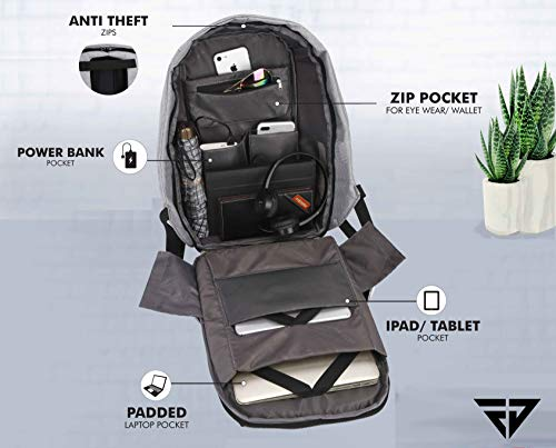 Fur Jaden Grey Anti Theft Casual Waterproof Backpack Bag with USB Charging Point
