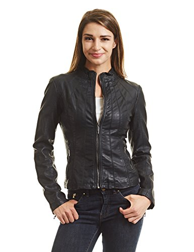 Womens Black Leather Moto Jacket - 3