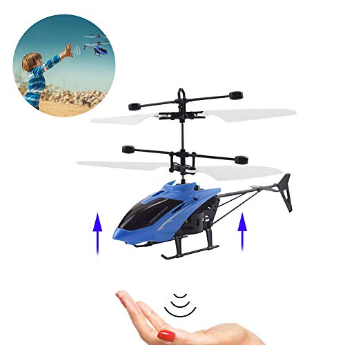 (Hilai 1PC Mini RC Helicopter Radio Remote Control Hand Induction Flying Aircraft Electric Micro Helicopters Toys Gift for Kids(Blue))