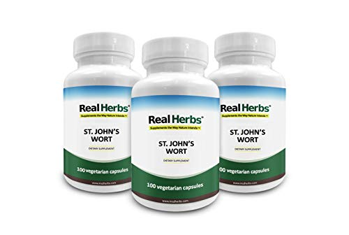 - 15% Off 3 Bottles of Real Herbs St Johns Wort Standardized to 0.3% Hypericin 500mg - Herb Supplement for Positive Thoughts - Vegan Capsules an alternative to Pills & Tablets - 300 Vegetarian Capsules