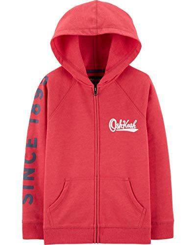 Osh Kosh Boys' Little Full Zip Logo Hoodie, Sundried red, ()