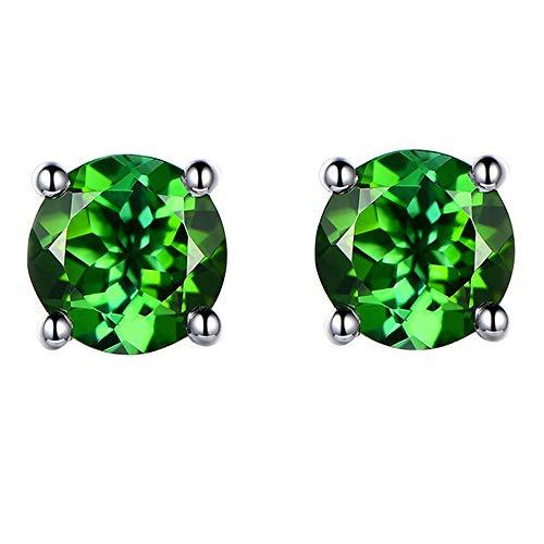 - 6MM Emarald Swarovski Crystal Stud Earrings 18K White Gold Plated with AAAA Cubic Zircon Stone Women Girls Jewellery