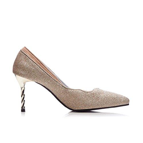 Mujeres Grandes Durante Tacón de con Astilleros Primavera Tacón de y Americanas el Fina Zapatos la Golden Europeas y Zapatos de de Otoño Señaló Zapatos Mujer 8Exqaq