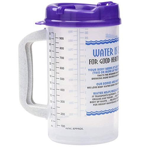 Water Essentials Tracking Hospital Mug for Daily Intake Measuring with Straw, 32 oz Purple Swivel Lid