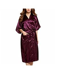 Womens Long Solid Kimono Sexy Silky Satin Bath Robe