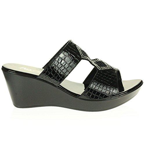 AARZ LONDON Frau Damen Beiläufig Komfort Sommer Leicht Schlüpfen Mittel Keilabsatz Sandalen Schuhe Größe Schwarz