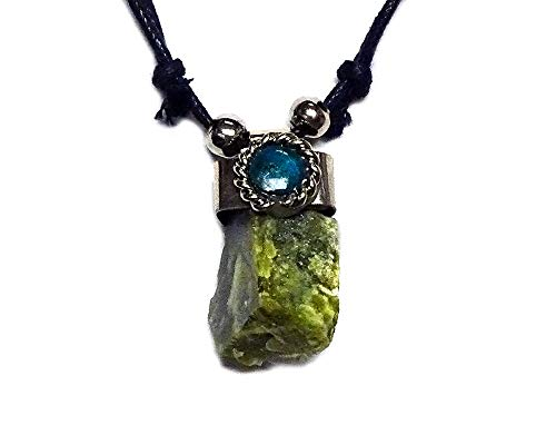 Jewel Olive - Mia Jewel Shop Natural Raw Rough Healing Gemstone Pendant Round Chrysocolla Stone Adjustable Necklace (Olive Green Serpentine)