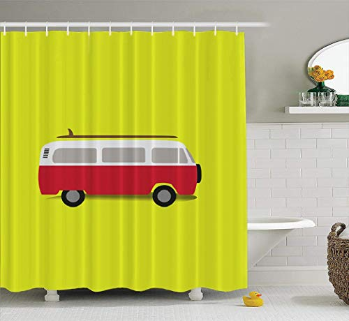 Watercolor-Camper Fabric Shower Curtain, Waterproof Bathroom Shower Curtains Classic Van with Yellow Beach Blue Board Bus California Camper Camping Car Fun 72X78 Inches Set of 12 Hooks for Bathroom