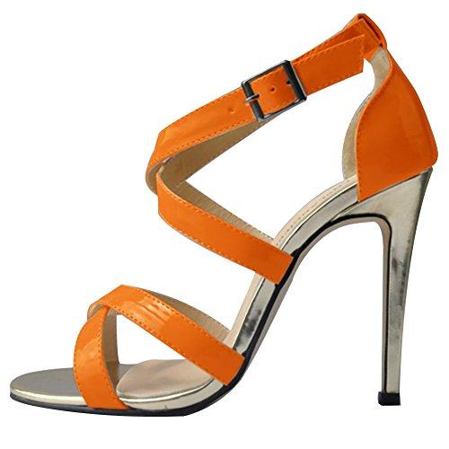 HooH Women's Snakeskin Hollow Out Peep Toe Stiletto Sandals Dress Pump Orange ye3nXT1rqo