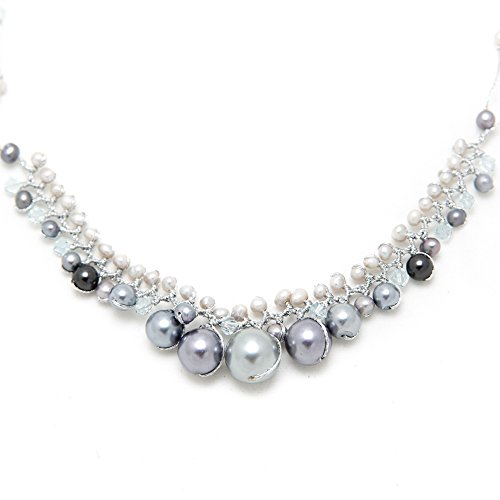 Silver-Tone White Cultured Freshwater Pearl Crystal Beads Silk Thread Cluster Necklace 17
