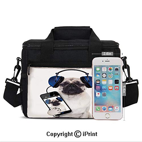 Insulated Lunch Bags For School With Bottle Holder Dog Listening Music on the Smartphone Groovy Cool Headphones Animal Funny Image Decorative Kids Lunch Box Snacks Tote Lunch Containers 3D Print Navy
