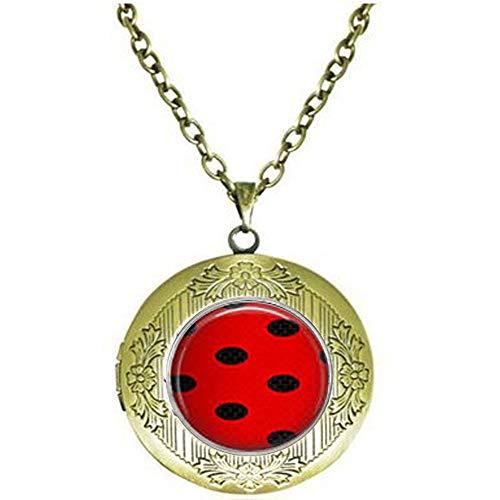 Miraculous Ladybug & Cat Noir Pattern Locket Necklace