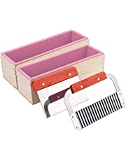 2 Pack Silicone Soap Molds Kit - 42 oz Flexible Rectangular Loaf Soap Molds with Wood Box and 2 Cutters, Stainless Steel Wavy & Straight Scraper for Soaps Making-Pink