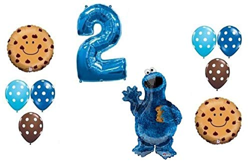 LoonBalloon COOKIE MONSTER Polka Dots #2 2nd 11 Pce Birthday PARTY Mylar Latex BALLOON Set B by LoonBalloon