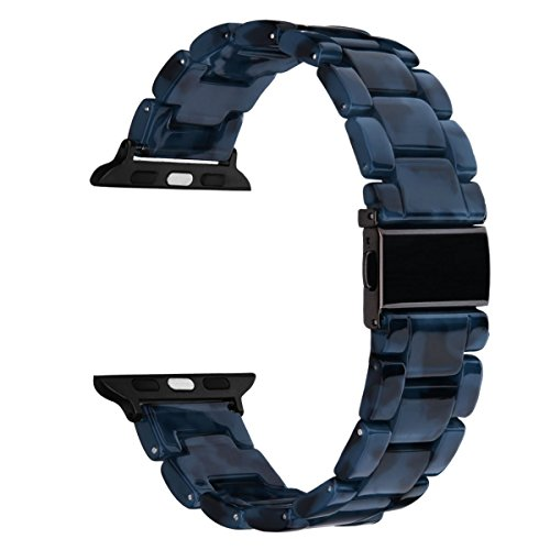 V-MORO Resin Band Compatible with Apple Watch Band 42mm 44mm iWatch Series 4/3/2/1 with Stainless Steel Buckle Black Replacement Wristband Strap Men(Navy-Tone, 42mm(5-7.67))