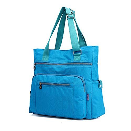 (Multi Pocket Nylon Totes Handbag Large Shoulder Bag Travel Purse Bags For Women (X-Sky)