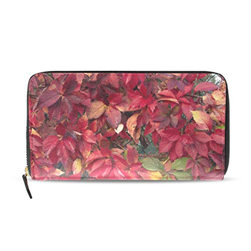 Womens Wallets How To Get Red Foliage Leather Passport Wallet Change Purse Zip Handbags