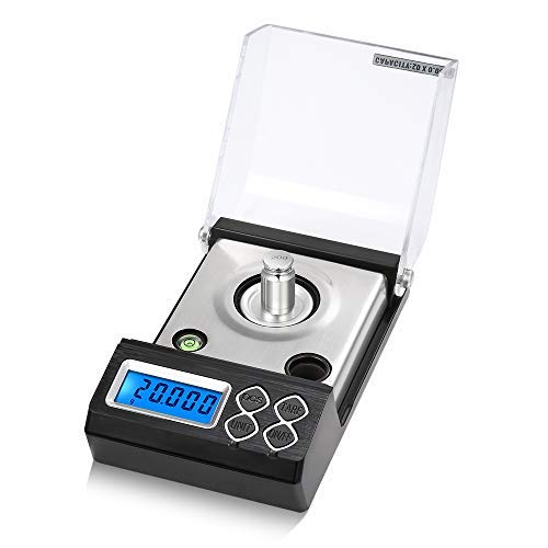 KKmoon High Precision Professional Digital Milligram Scale 20g/0.001g Mini Electronic Balance Powder Scale Gold Jewelry Carat Scale Digital Weight with Calibration Weight Tweezer and Weighing Pan
