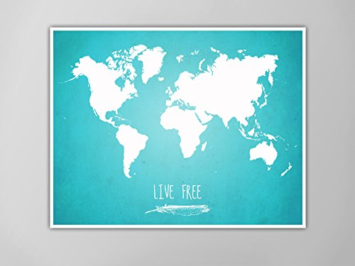 Amazon world map poster live free world map poster map of world map poster live free world map poster map of world print world gumiabroncs Image collections