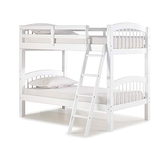 (Alaterre AJSB10WH Spindle Twin Bunk Bed, White)