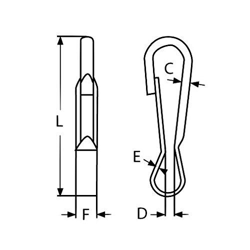 10 x Simplex Karabinerhaken 30 mm Edelstahl Schnapphaken Leinen Haken Hundeleinen Lederbandhaken V2A