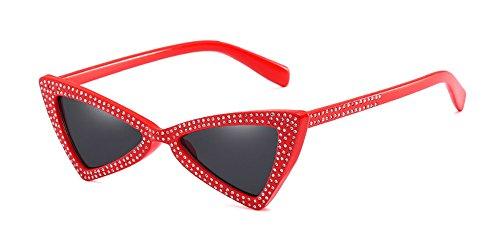 Rouge de plein chat Mode Gris de Rétro Classique Lunettes air de Dintang Soleil Femme Oeil Lunettes qp86Tx4wx