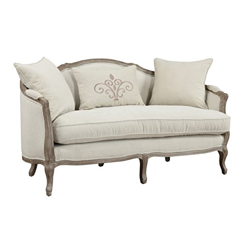Emerald Home Salerno Sand Gray Settee, with Pillows, Feather Blend Reversible Seat Cushion, Curved Back, And Wood ()