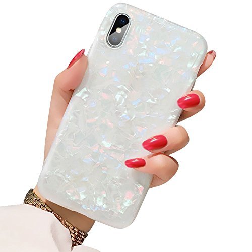 Sparkling Back Cover Case - BOFTALE for iPhone X/XS Case,Girls Women Sparkling Shiny Soft TPU Silicone Back Cover Cute Slim Fit Full Protection Glitter Pearly-Lustre Translucent Shell Pattern Protective Phone Case (Colorful)