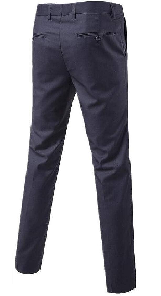 Lutratocro Mens Solid Color Slim Basic Business Straight Leg Dress Pants