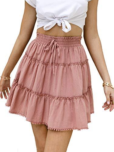Candacore Women's High Waisted Mini Skirt Teen Girls' Pleated A-line Ruffle Skirt