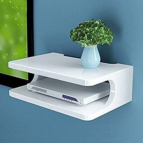 Home Design Mart MDF Modern Design Set Top Box Stand Holder Wall Shelf  Standard, White
