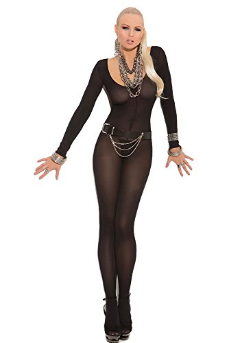 justbuy-us Women's Sexy Babe Long Sleeve Body Stocking Jumpsuits (Black Bodystocking)