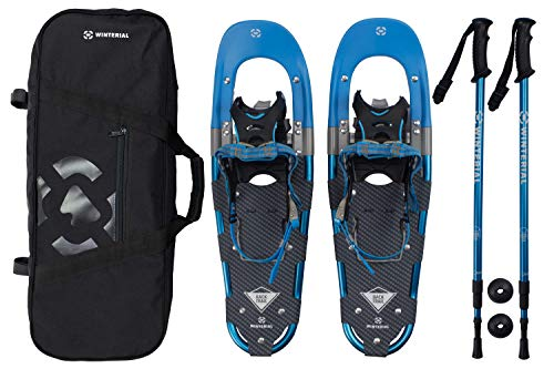 (Winterial Back Trail Snowshoes 25 Inch Lightweight Aluminum Rolling Terrain Blue Snow Shoes with Carry Bag and Adjustable Poles )