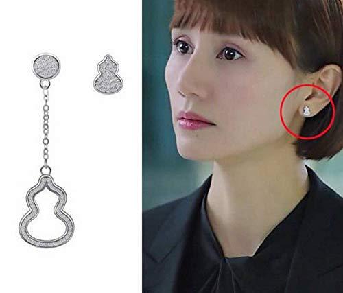 ERH Frauen Natürliche 925 Silber Geometrische Ohrstecker Kürbis Ohrstecker S925 Sterling Silber Asymmetrische Kürbis Diamant Ohr, 925 Silber