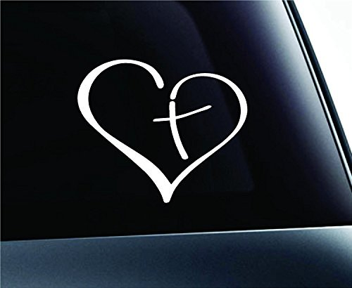Heart with Cross in Center Decal Sticker Vinyl for Car Auto Christian (3.5