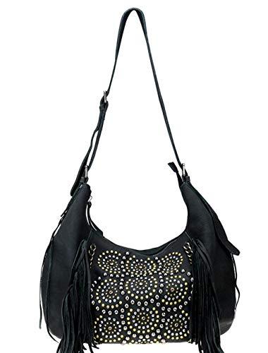 Montana West Delila, Genuine Leather Studded Fringe Handbags (Black Hobo)
