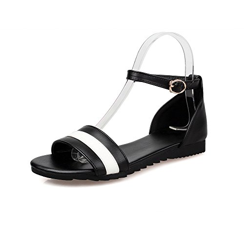 Black Assorted Open Flats Toe Buckle Heel No Sandals Color AllhqFashion Womens q7Z4w4