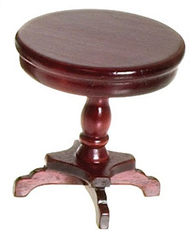 Dollhouse Pedestal - Dollhouse Miniature 1:12 Scale Mahogany Victorian Pedestal END Table #T3504