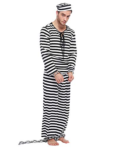 HDE Men's Prisoner Costume Halloween Party Outfit with Black and White Striped Hat Shirt and Pants Adult One Sized