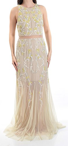 Adrianna Papell Yellow Beaded Mesh Womens Gown Prom Dress Beige 6 (Mesh Prom Beaded Dress)