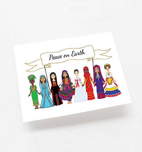 Holiday Christmas Cards - 24 Pack Peace on Earth Christmas Holiday Greeting Cards, Envelopes (Holiday Greeting Envelope)