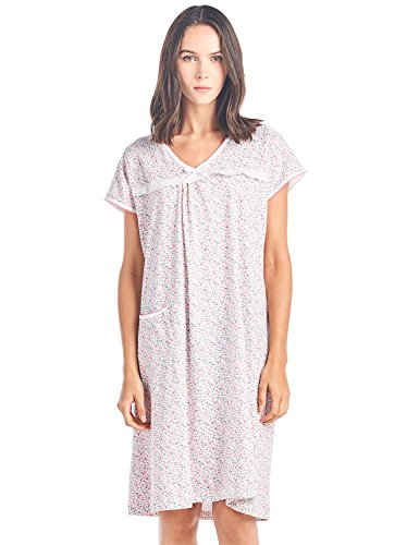 Casual Nights Women's Cotton Floral Short Sleeve Nightgown - Pink - - Lace Nightgown Floral